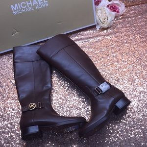 Michael Kors Brown Leather Tall Boots 5.5